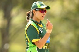 during the women's international series One Day match between the Australian Southern Stars and Pakistan at Redlands Cricket Ground on August 28, 2014 in Brisbane, Australia.