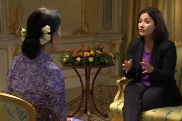 BBC presenter Mishal Hussain with AUNG SAN SUU KYI front profile