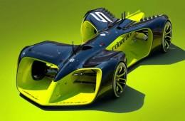 Robo-racing sports car front profile