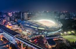 China Football stadium aerial profile