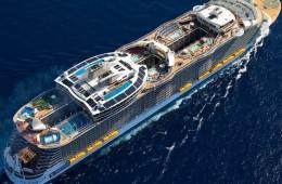 world biggest cruise ship aerial profile