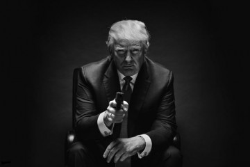 Donald Trump black shed profile with gun