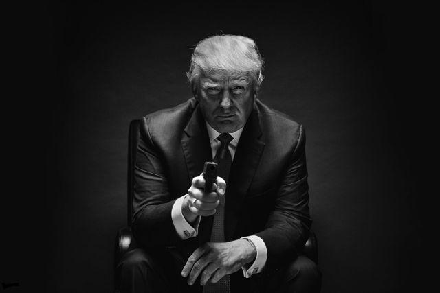 Donald Trump black shed profile with gun