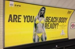 billboard of model inside london street