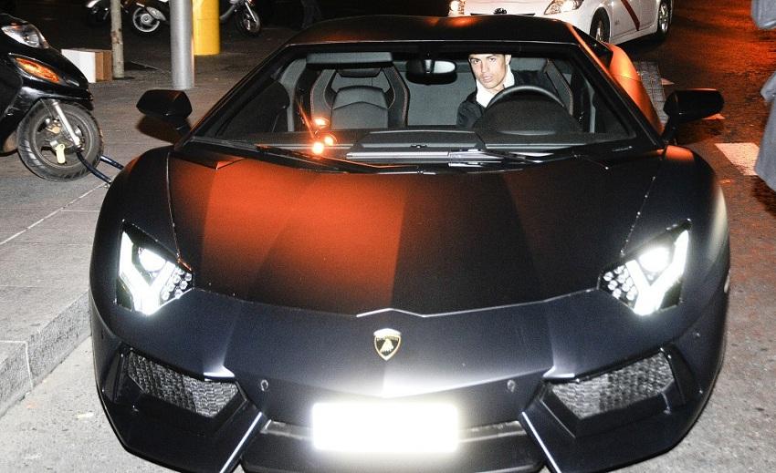ronaldo driver lamborghini car front profile