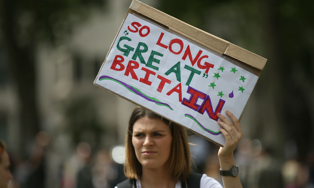 woman protest Brexit relly