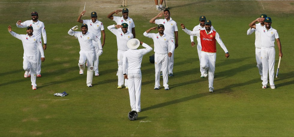 Pakistan cricket team salute to Misbha