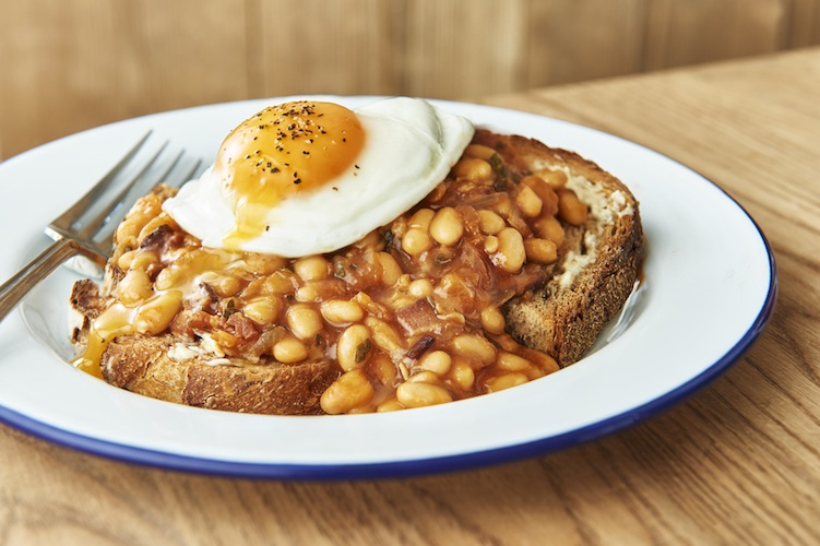 fried egg with beans