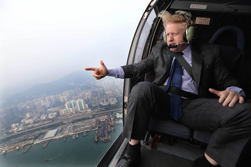 Boris Johnson flying in helicopter