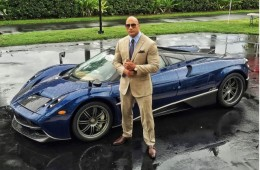 Dwayne Johnson with sports car front profile